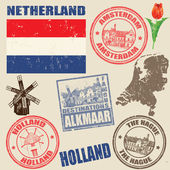Set of Netherland stamps — Stock Vector