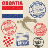 Set of Croatia stamps — Stock Vector