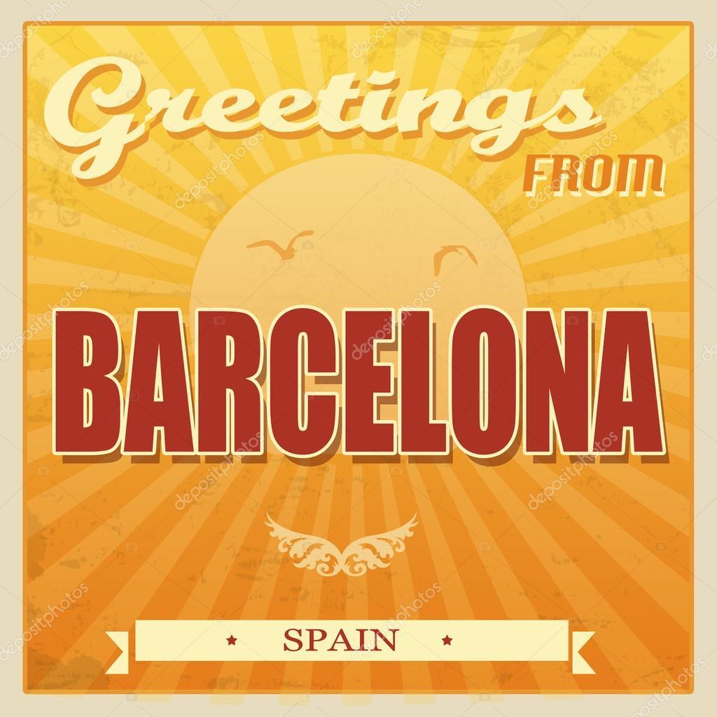 Vintage barcelona cartel de espa a vector de stock - Mobles vintage barcelona ...
