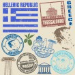 Set of Greece stamps — Stock Vector
