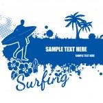 Surfing grunge scene — Stock Vector