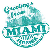 Greetings from Miami stamp — Stock Vector