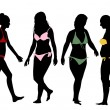Silhouettes of bikini girls — Stock Vector