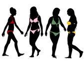 Silhouettes of bikini girls — Stock Vector