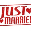 Just married stamp — Stok Vektör