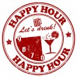 timbro di Happy hour — Vettoriale Stock