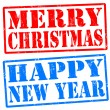 Merry christmas, and happy new year stamps — Vettoriali Stock