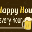 图库矢量图片: Happy Hour is every hour, vintage poster