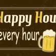 Stock Vector: Happy Hour is every hour, vintage poster