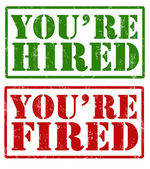 You're hired and You're fired stamps — Stock Vector