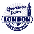 Greetings from London stamp — Vettoriali Stock