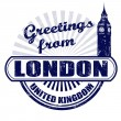 Greetings from London stamp — Vettoriale Stock #29980709