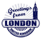 Greetings from London stamp — Vettoriale Stock