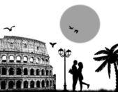 Couple silhouette in Roma — Stock Vector