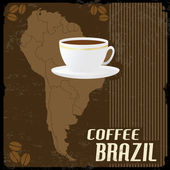 Coffee Brazil Vintage Poster — Stock Vector