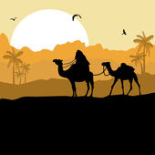 Camel caravan in desert — Stock Vector