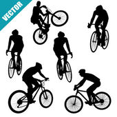 Various cycling poses — Stock Vector