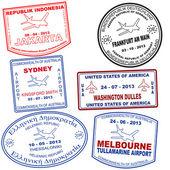 Set of passport grunge stamps — Stock Vector