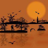 Güzel cityscape ve insan silueti — Stok fotoğraf