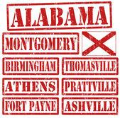 Alabama Cities stamps — Stock Vector