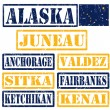 Texas Alaska stamps — Stock Vector