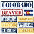Colorado Cities stamps — Stock Vector