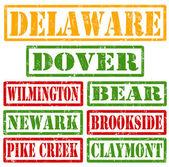 Delaware Cities stamps — Stock Vector