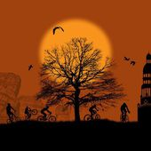 Cyclists silhouettes on sunset — Stock vektor