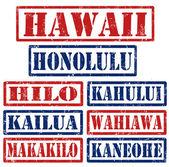 Hawaii Cities stamps — Stock Vector