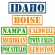 Idaho Cities stamps — Stock Vector
