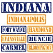 Indiana Cities stamps — Stock Vector