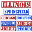 Illinois Cities stamps — Stock Vector