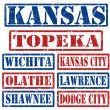 Stock Vector: Kansas Cities stamps