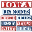 Iowa Cities stamps — Vettoriali Stock