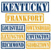 Kentucky Cities stamps — Stock Vector