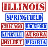 Illinois města razítka — Stock vektor
