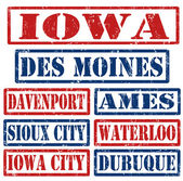 Iowa Cities stamps — Stock Vector