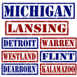 Michigan Cities stamps — Image vectorielle