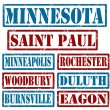 Minnesota Cities stamps — Stock Vector