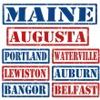 Maine Cities stamps — Stock Vector