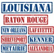Louisiana Cities stamps — Stock Vector