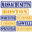 Massachusetts Cities stamps — Stock Vector