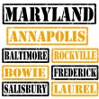 Maryland Cities stamps — Stock Vector