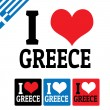 I love Greece sign and labels — Stock Vector