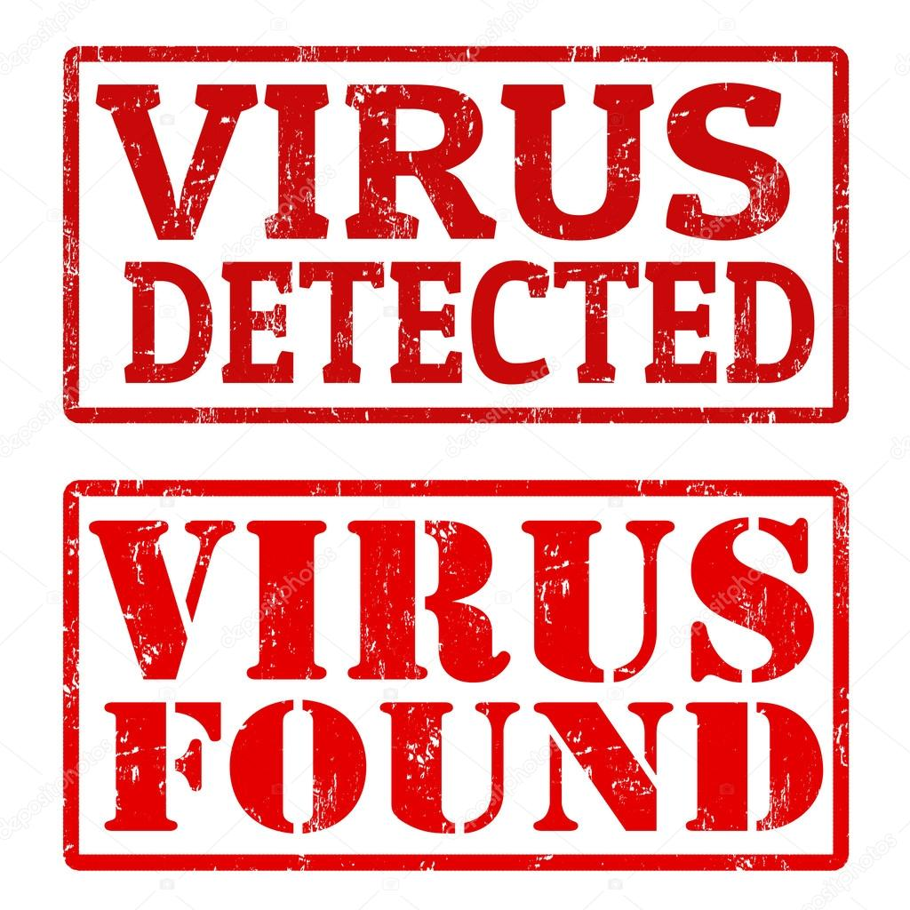 Virus Detected and Virus Found stamps — Stock Vector ...