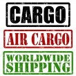 Cargo, air cargo and worldwide shipping stamps — Stock Vector #30993191
