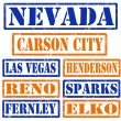 Nevada Cities stamps — Stock Vector