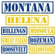 Montana Cities stamps — Stock Vector