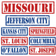 Missouri Cities stamps — Stock Vector
