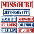 Stock Vector: Missouri Cities stamps